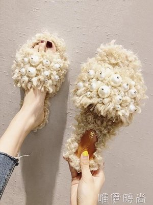 【免運】-毛毛拖鞋 網紅同款拖鞋女夏外...