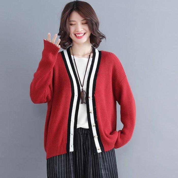 秋秋冬針織衫開衫女文藝復古大尺碼寬鬆V領長袖毛衣外套