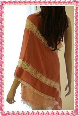 全新新光三越吊牌完整ANNA SUI 安娜蘇Cashmere 50%+絹50%波西米亞風粉橘色披肩