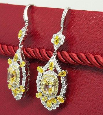 豪華黃色鑽石項鍊925銀包白金鑲高碳鑽...