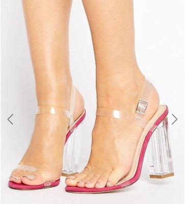 英國潮流時尚品牌Public Desire透明高跟涼鞋Alia Clear Strappy Heeled Sandals