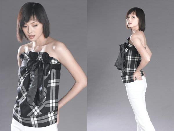 全新日本知名品牌 WILLSELECTION 性感格紋平口馬甲款緞帶蝴蝶結造型背心 原價6980