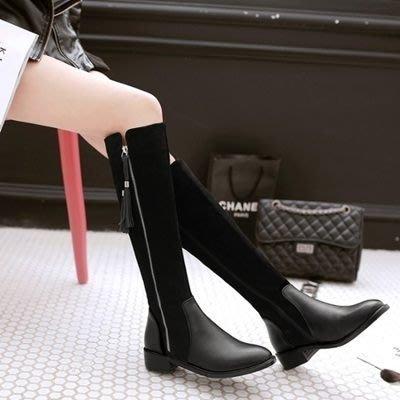 真皮長靴 低跟靴子-騎士風時尚流蘇側拉鍊女鞋2色73iv48[獨家進口][米蘭精品]