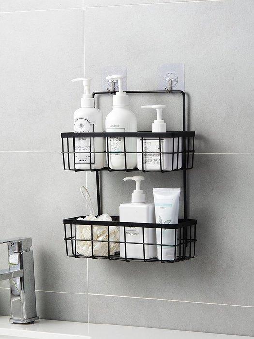 收納世家 浴室收納優思居 鐵藝廚房調料架 免打孔浴室置物架收納籃雙層掛籃儲物架
