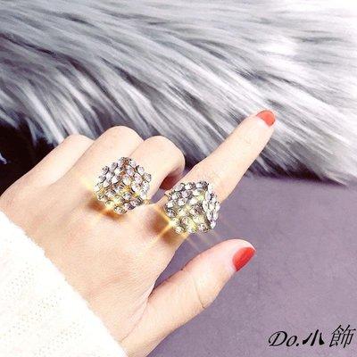 Do.小飾個性鑲鉆幾何立方形戒指女滿鉆開口食指指環正韓夸張氣質手飾配飾