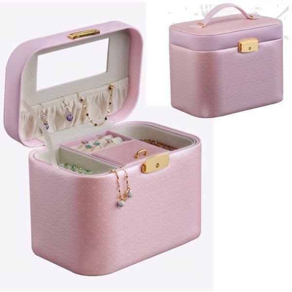 5Cgo 【鴿樓】會員有優惠 16505232520 首飾盒復古化妝盒歐式皮質帶鎖手鐲盒珠寶飾品盒收納項鍊戒指 手提