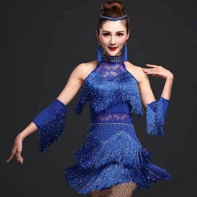 【優作坊】407_流蘇蕾絲短洋裝、拉丁舞衣、國標舞衣、禮服、尾牙表演效果良好