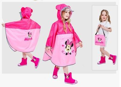 •*~ 辣媽咪衣飾小舖 ~*•❤童裝系列❤A970135兒童寶寶男女童學生卡通圖案防滑雨靴--斗蓬式米妮