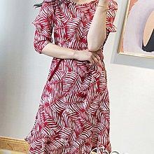 KVLOVE SHOP-T〥外貿單  時尚優雅葉子印花紅色中袖連身裙〥特價