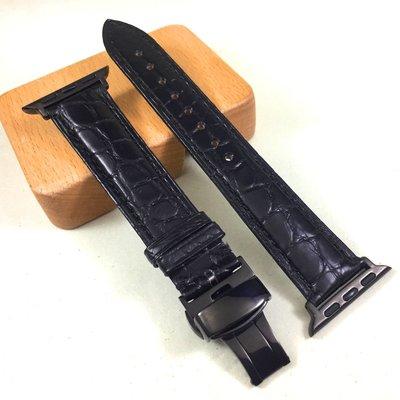 Apple Watch 3 4 代用 專用 手工 來自美洲 鱷魚 保證 真皮 錶帶 黑色 38 40 42 44 專用