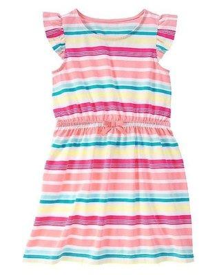 美國GYMBOREE正品新款 Flutter Sleeve Striped Dress連身裙洋裝 6T...售200元