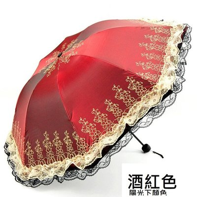 蕾絲變色閃光傘.手動折疊式晴雨傘.防曬...