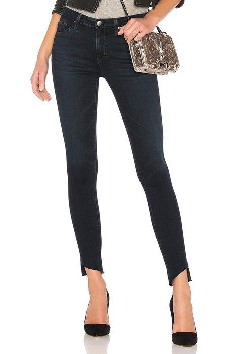 ◎美國代買◎AG The legging剪破式褲口深藍刷色經典熱銷款高腰合身九分牛仔褲