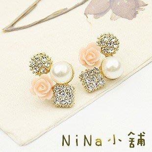 NiNa小舖【E561C8】韓國Candy Girl鍍真金鑲甜美山茶花朵珍珠耳釘(黑色/粉色)現貨