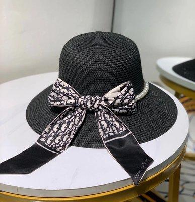 ✤寵愛Pamper for you✤Dior 珍珠飄帶遮陽草帽