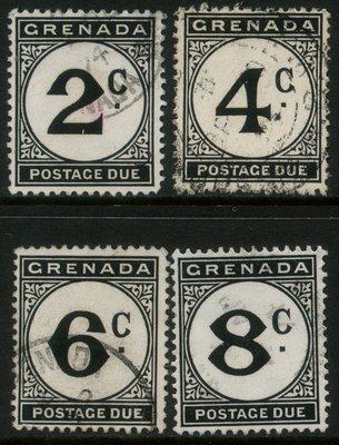 郵紳_24548_格瑞那達_第四套欠資郵票_1953年_一套4全_信銷票_中上品項_低價起標無底價