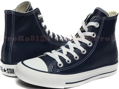 鞋大王Converse 170463 深藍色 真皮高統帆布鞋(荔枝皮)#特價1499元#免運費#148C