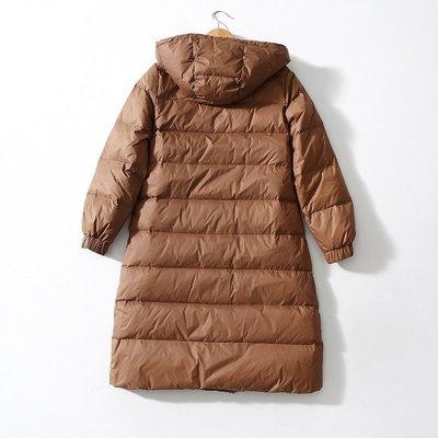 秋冬新款 又輕又暖!強烈推薦!90%鴨絨顯瘦長款厚款連帽羽絨服外套 大衣    h