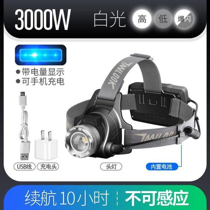 手電筒 探露LED頭燈強光充電感應遠射3000頭戴式手電筒超亮夜釣魚燈礦燈