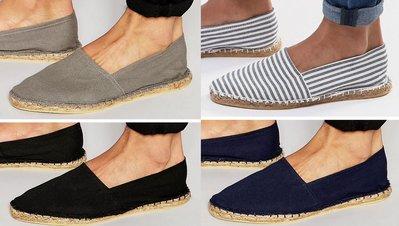 ◎美國代買◎ASOS藍白條紋/海軍藍/黑色/灰色帆布無鞋帶草編鞋文青風二雙一組賣超值組