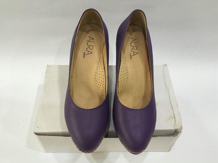 AURA 酒莊紫厚底高跟鞋 細跟高跟鞋 蛇紋 前高後高 防水台 24號