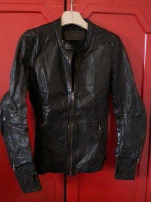 initial 黑色 女款 騎士 立領 前拉鍊 羊皮 皮衣 雙拉鍊頭 155號 袖子有手套設計