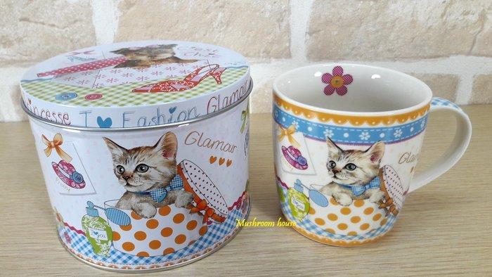 點點蘑菇屋 義大利Easy Life錫盒裝魅力馬克杯 Mug 貓咪 格子 小花 愛心 鐵盒 水杯 杯子 禮盒裝 現貨