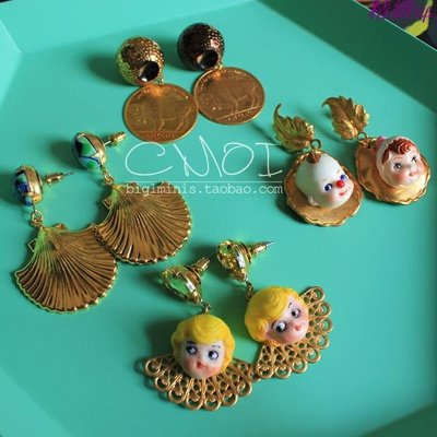 精緻life 手作美產進口黃銅古董娃娃貝殼硬幣寶石吊墜耳環