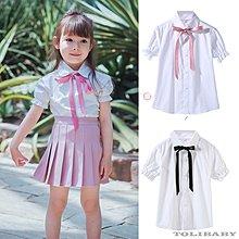 《童伶寶貝》XA013-夏款蝴蝶結繫帶女童短袖白色襯衫(泡泡袖/正常袖)