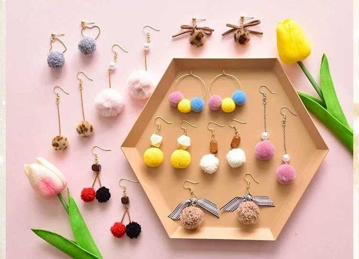 diy耳環材料包 緞帶 流蘇 自製耳釘耳飾品耳墜配件 10對款 毛球款 兩套材料包贈分類盒 18