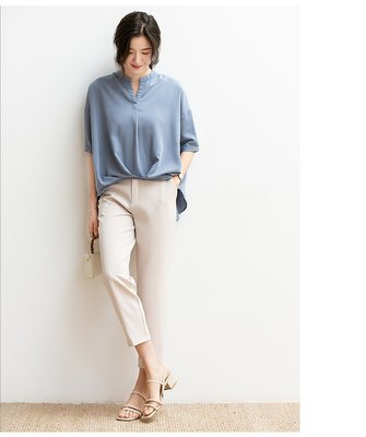 雪紡上衣 (SDP2099) 實拍設計款前短後長寬鬆大碼雪紡衫 短袖上衣 有3色 S-XL 預購