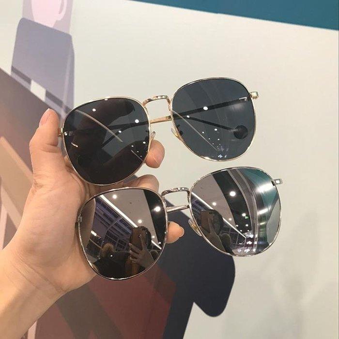 正韓新品潮流眼鏡女小臉復古金屬墨鏡男女圓形太陽鏡遮陽開車專用 尾牙