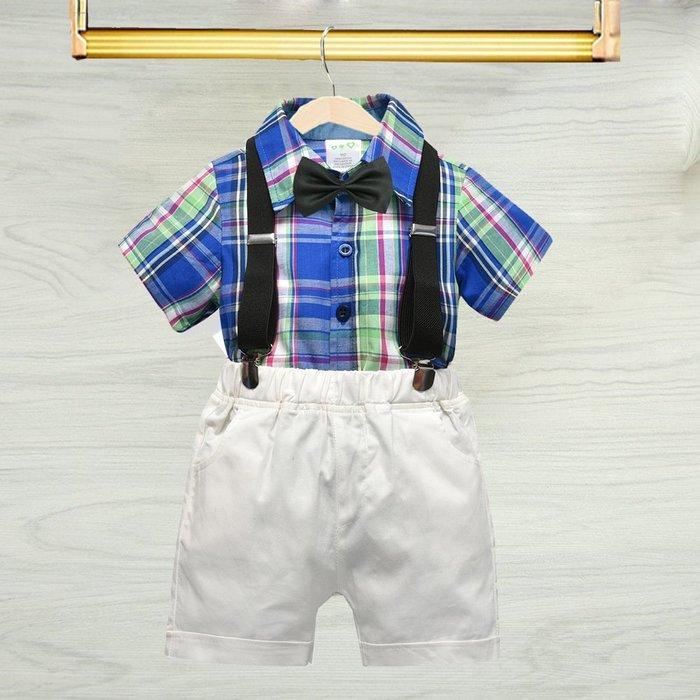 春夏季男寶寶禮服 純棉背帶褲套裝薄款紳士服