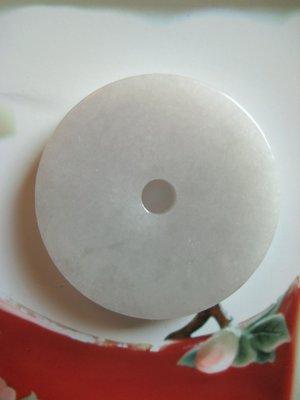 ⭐金壽藝品⭐ A貨冰種翡翠玉扣 白翡古錢 圓如意 結晶細緻