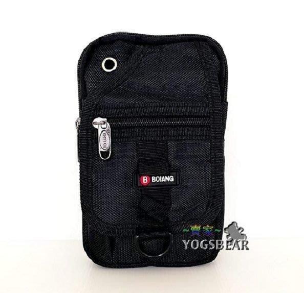 【YOGSBEAR】A 直立式 手機袋 三用包 手機包 斜背包 腰包 側背包 工具包 掛包 5254 黑