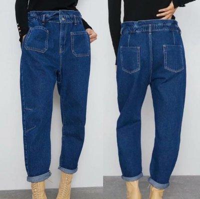 #ˇ牛仔褲##歐美新款高腰鬆緊腰紙袋型牛仔褲 T8-28048