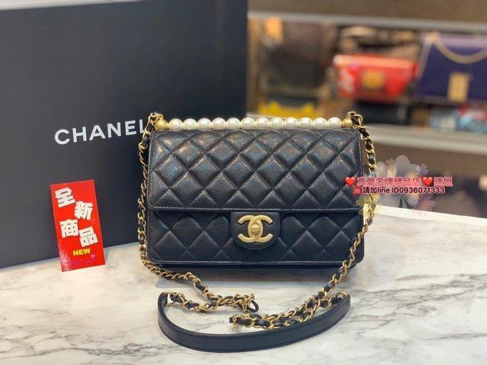 《真愛名牌精品》CHANEL AS0585  黑羊皮 菱格紋 珍珠 金扣 斜背包 *全新品* 代購