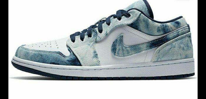 現貨- Air Jordan 1 Low 水洗單寧 牛仔藍色 板鞋 男鞋CZ8455-100