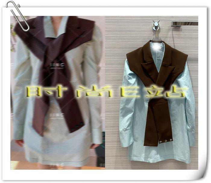 高端版【~SSEZ~】908100632 原版小翻領泡泡袖襯衫+披肩兩件套  S M L==可單售