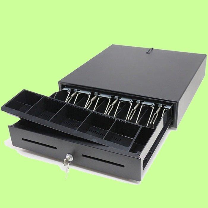 5Cgo【權宇】愛寶錢櫃Z420豪華加厚鋼板POS收銀出單機專用錢箱五格三檔RJ11接頭帶鎖電門箱零錢盒可獨立使用 含稅