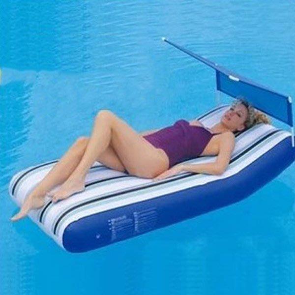 5Cgo【批發】含稅會員有優惠 20977243070 水上充氣床水上浮排水上座椅充氣游泳池充氣浮床水上沙灘躺椅充氣墊
