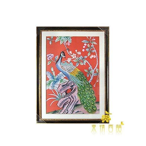 【芮洛蔓 La Romance】東情西韻系列手繪紅底孔雀手繪畫 / 壁畫 / 壁飾 / 掛畫 / 掛飾