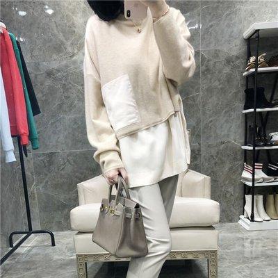 《巴黎拜金女》個性拼接慵懶風毛衣真絲假兩件純山羊絨設計感上衣雙層