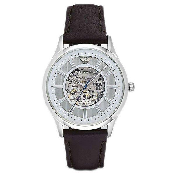 【金永珍珠寶鐘錶】Armani錶 原廠真品 機械簍空男錶 AR1946 手自動上鍊 超限量 白面銀框 情人生日禮物*