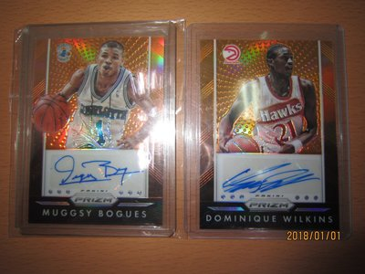 網拍讀賣~Dominique Wilkins/ Muggsy Bogues~傳奇球星~橘亮低限量簽名卡/65~貼紙簽~