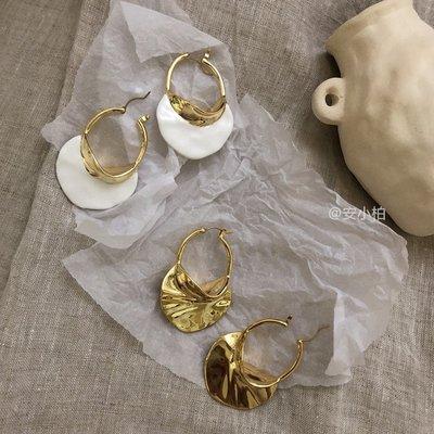 宏美飾品館~anna歐美celi風SWIRL大號琺瑯和金色飾面黃銅圈式jill大姐姐耳環
