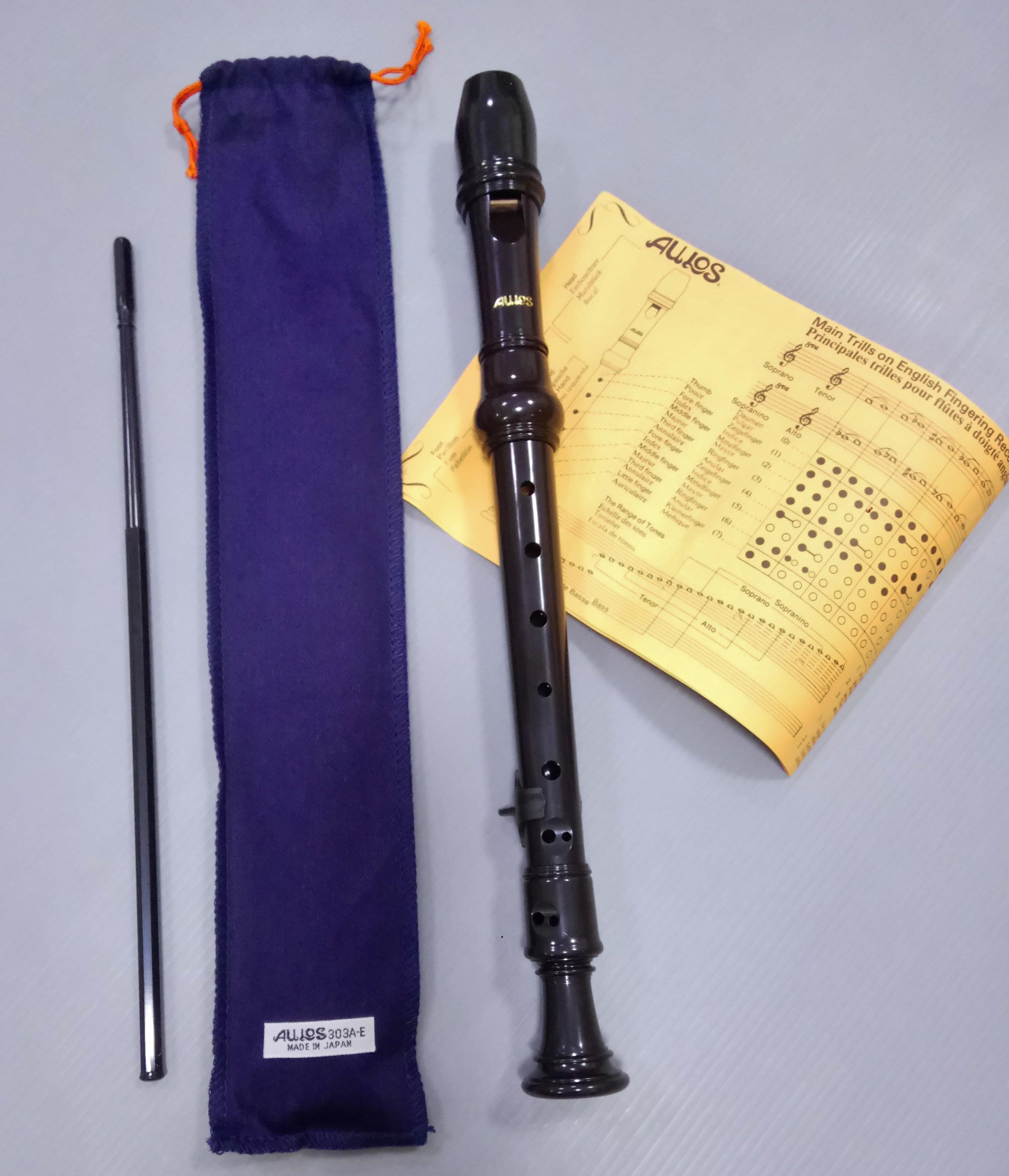 AULOS 303A 高音直笛 贈指托 日製 303A-E 英式直笛 【樂器城堡】