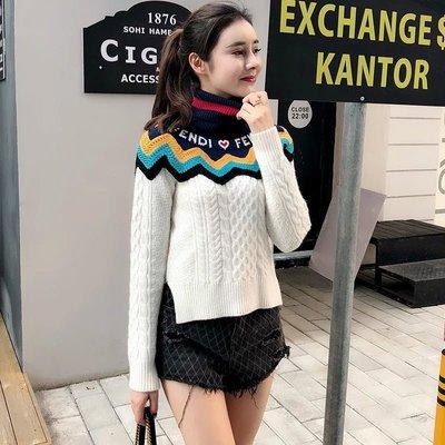 《巴黎拜金女》FEN*I 2018早秋畫冊同款條紋拼色高領針織羊毛女士上衣