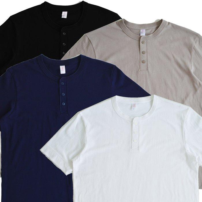 【 Wind 】 美式 重磅 6.5oz 美式 三扣 亨利領 短T 不透 強化羅紋 100%純棉