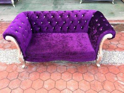 【二手倉庫-崇德店】 二手家具*紫色水鑽雙人絨布沙發 2人座沙發 二人沙發 法式/歐式 二手傢俱買賣台北新北桃園